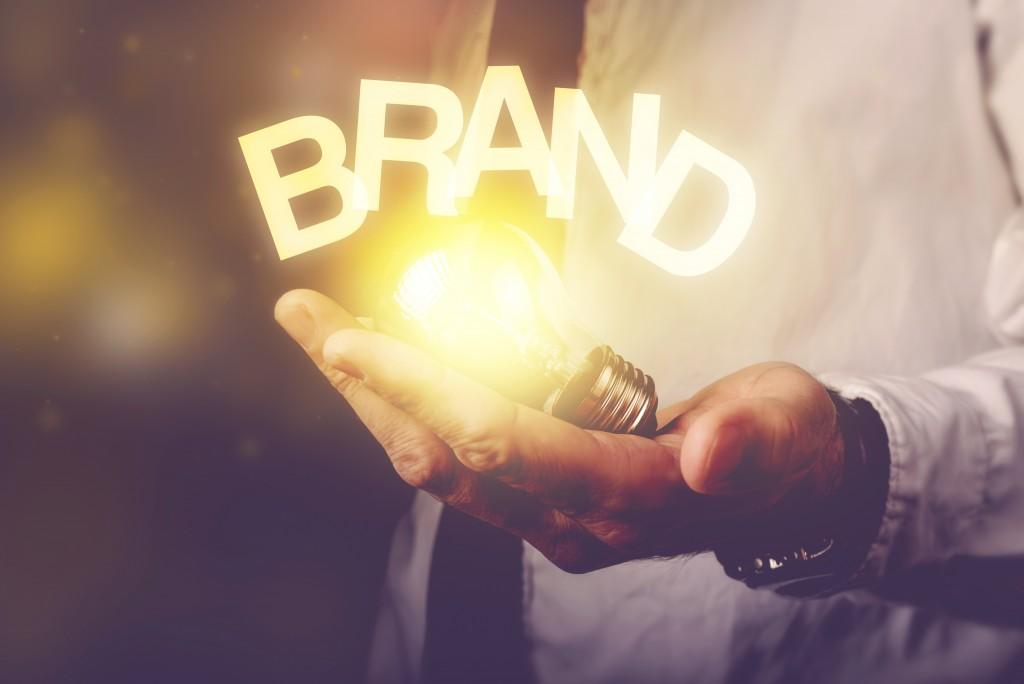 brand word over lighbulb