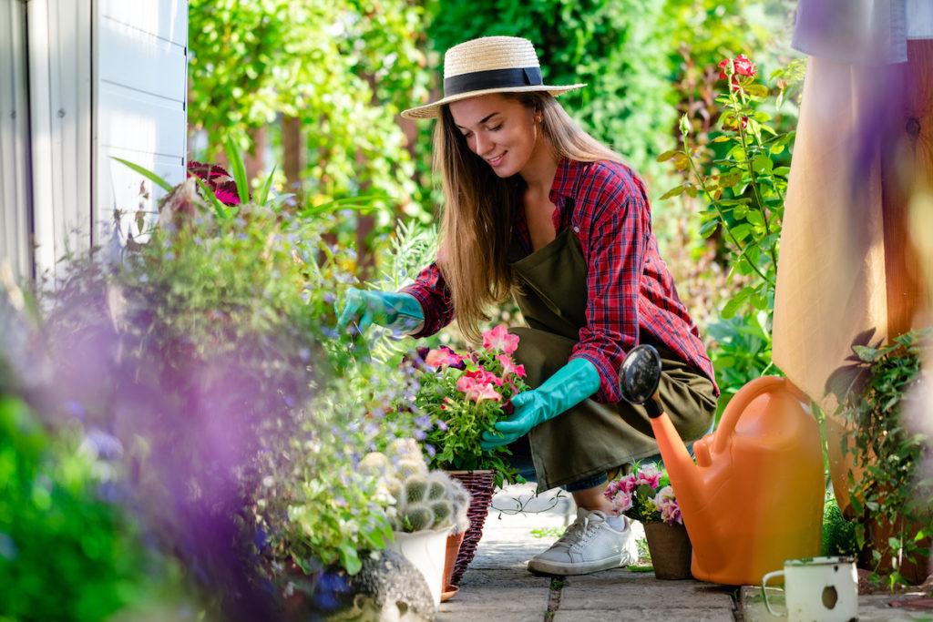 woman gardening in the yard