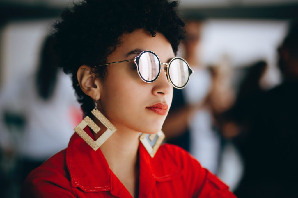 woman wearing earrings